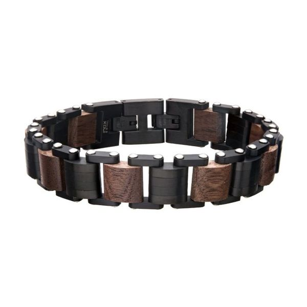 Men's Stainless Steel and Wood Link Bracelet  Holtan's Jewelry Winona, MN