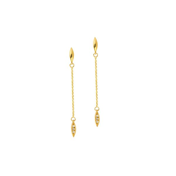 Yellow Gold Diamond Accented Dangle Earrings Holtan's Jewelry Winona, MN