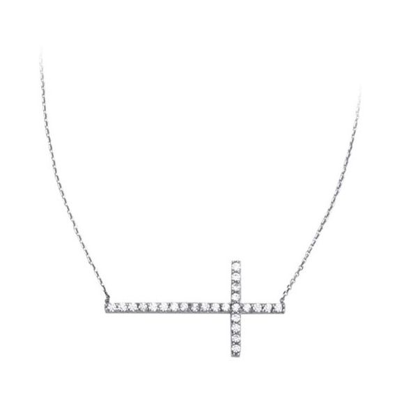 Sterling Silver Sideways Cross Necklace Holtan's Jewelry Winona, MN