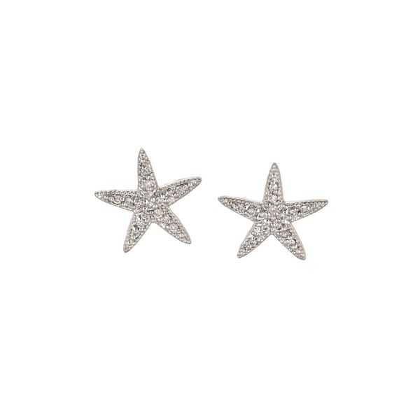 14K White Gold Diamond Starfish Earrings Jais Providenciales,
