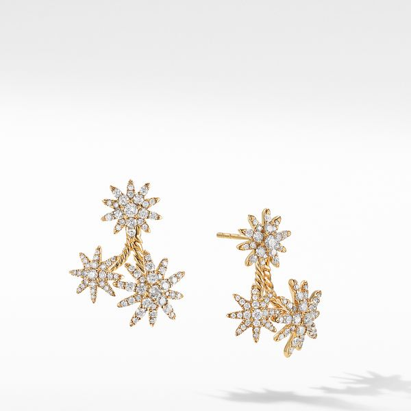 Starburst Cluster Earrings in 18K Yellow Gold with Full Pavé Diamonds Jais Providenciales,