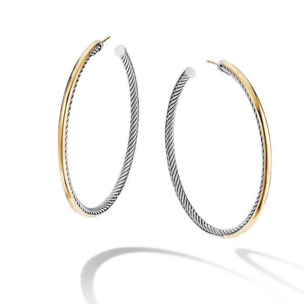 Sculpted Cable Hoop Earrings with 18K Yellow Gold Jais Providenciales,