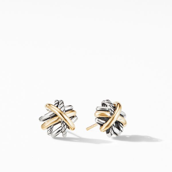 The Crossover Collection Stud Earrings with 18K Yellow Gold Jais Providenciales,