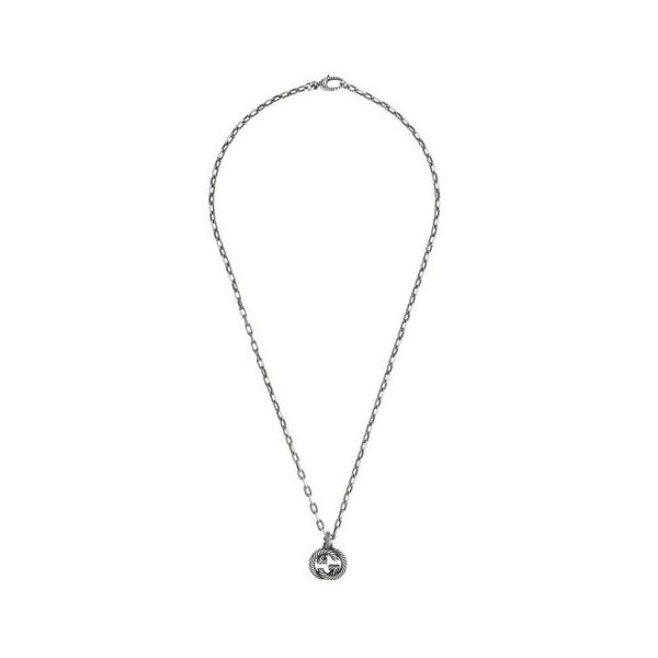 Silver necklace with Interlocking G Jais Providenciales,