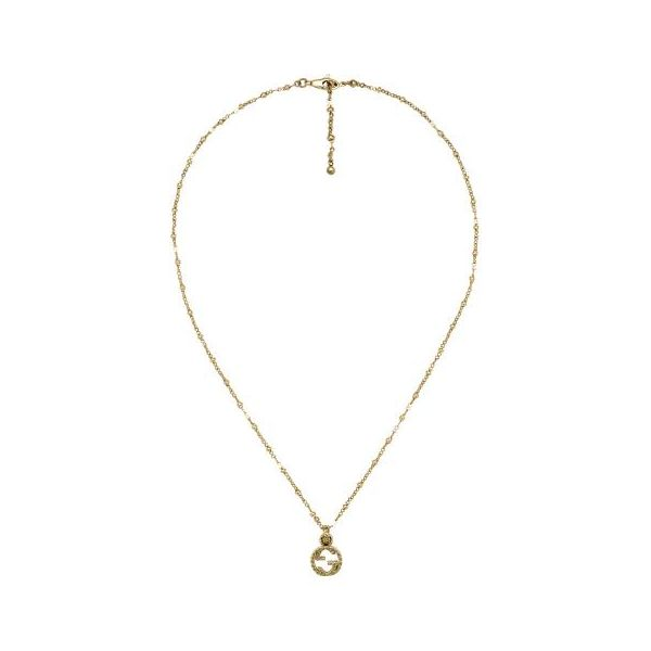 Yellow gold necklace with Interlocking G Jais Providenciales,