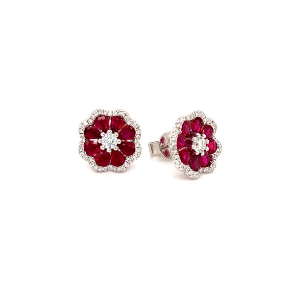 Ruby & Diamond Stud earrings Image 2 Jais Providenciales,