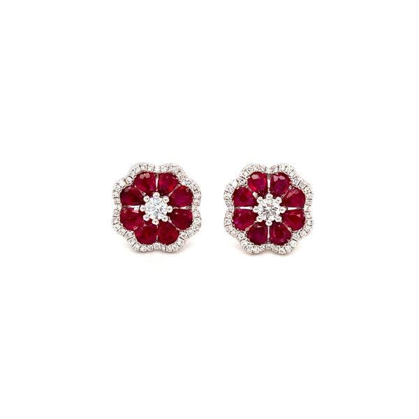 Ruby & Diamond Stud earrings Jais Providenciales,