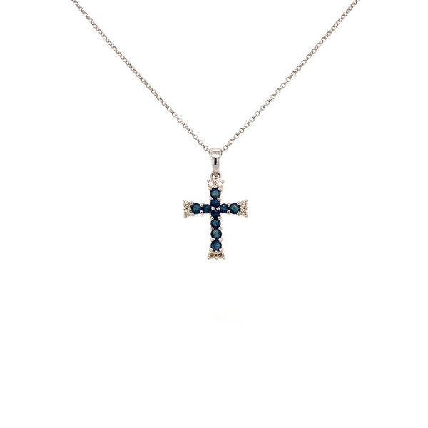 Cross with Sapphire and Diamond Necklace Jais Providenciales,