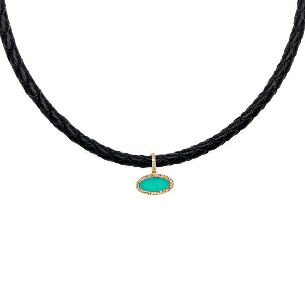 Turquoise Leather Choker Jais Providenciales,