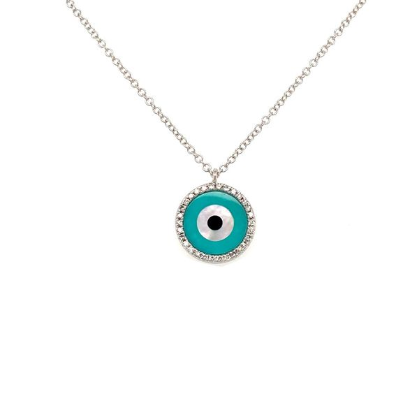 Blue Evil Eye Diamond Necklace Jais Providenciales,