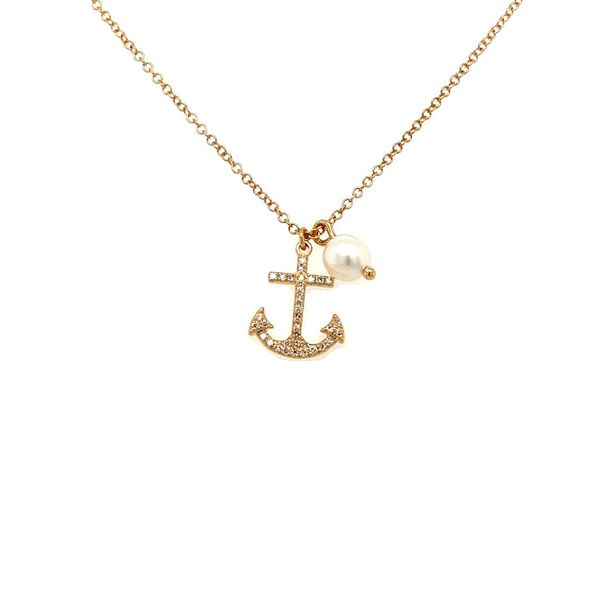 14K Gold Anchor Necklace Jais Providenciales,