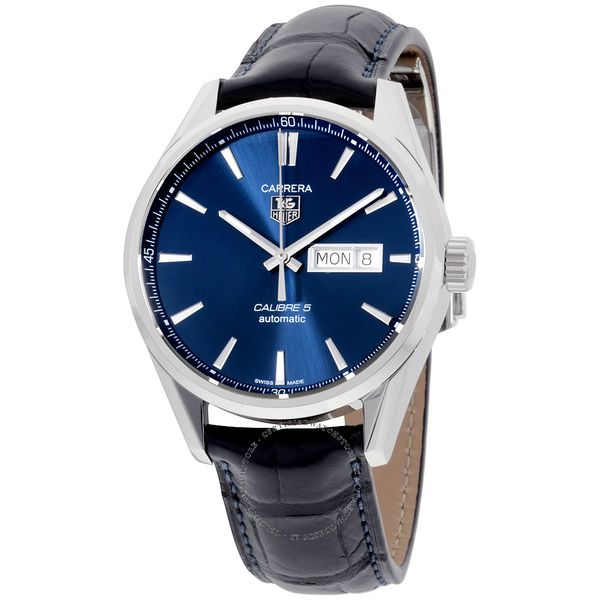 TAG Heuer Carrera Calibre 5 Automatic Mens Blue Alligator Watch Image 2 Jais Providenciales,