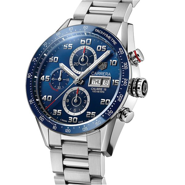TAG Heuer Carrera Calibre 16 Automatic Mens Blue Steel Chronograph Image 2 Jais Providenciales,