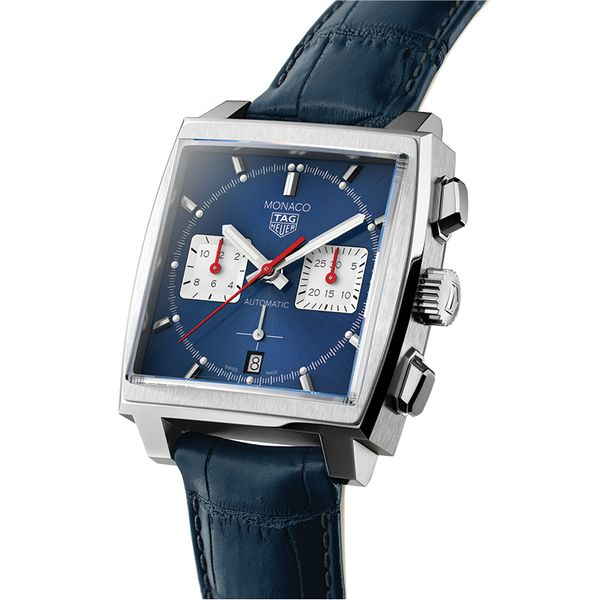 TAG Heuer Monaco Heuer 02 Automatic Mens Blue Leather Chronograph Image 2 Jais Providenciales,