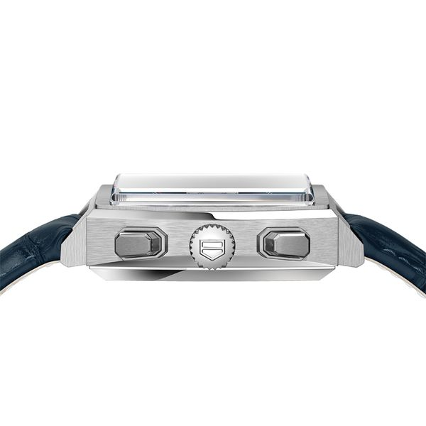 TAG Heuer Monaco Heuer 02 Automatic Mens Blue Leather Chronograph Image 3 Jais Providenciales,
