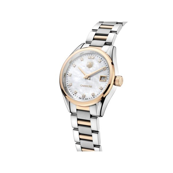 TAG Heuer Carrera Quartz Ladies Mother of Pearl Steel & Rose Gold capped Watch Image 2 Jais Providenciales,