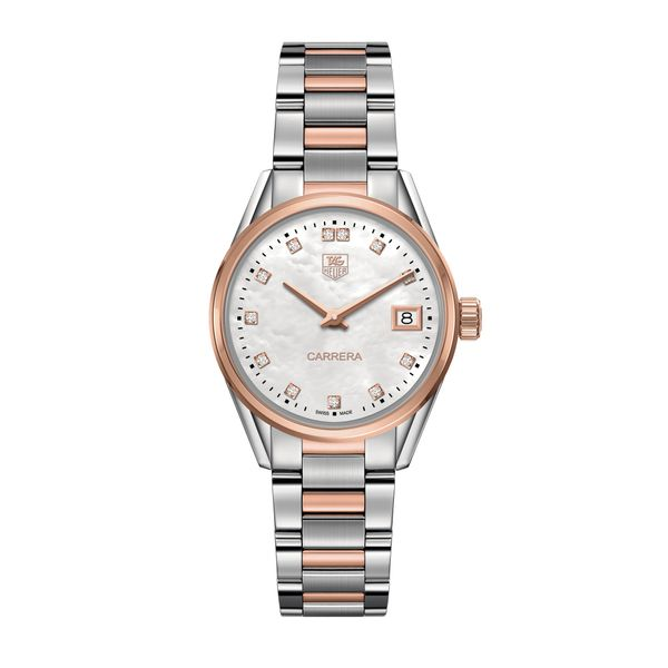 TAG Heuer Carrera Quartz Ladies Mother of Pearl Steel & Rose Gold capped Watch Jais Providenciales,