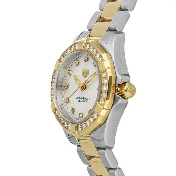 TAG Heuer Aquaracer Quartz Ladies Mother of Pearl Steel & Yellow Gold Coating Watch Image 2 Jais Providenciales,