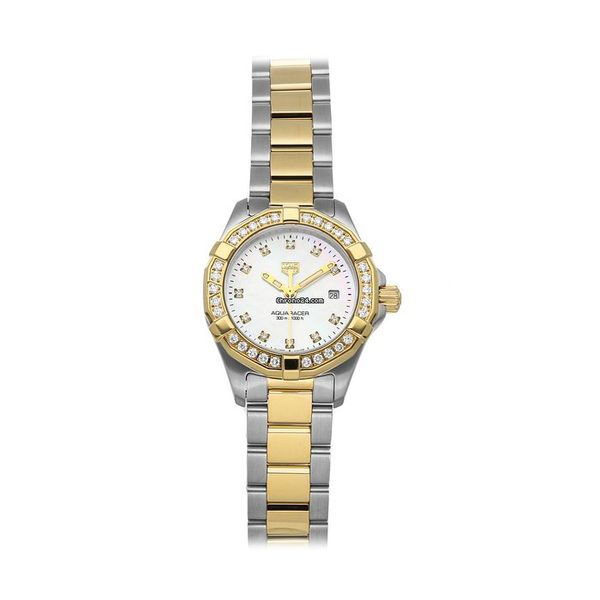 TAG Heuer Aquaracer Quartz Ladies Mother of Pearl Steel & Yellow Gold Coating Watch Jais Providenciales,