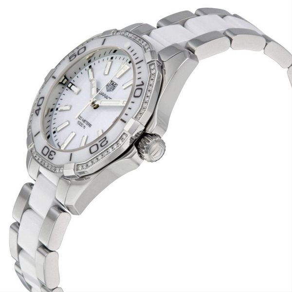 TAG Heuer Aquaracer Quartz Ladies White Steel & White Ceramic Watch Image 2 Jais Providenciales,