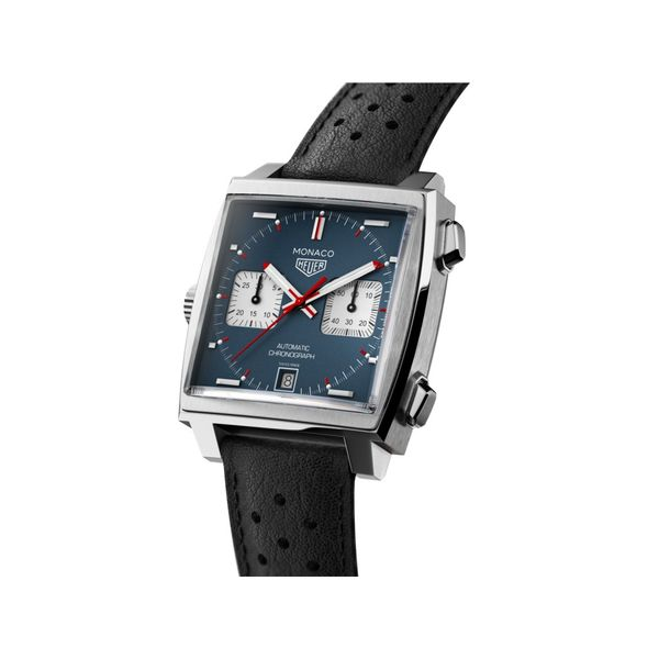TAG Heuer Monaco Calibre 11 Automatic Mens Blue Leather Chronograph Image 2 Jais Providenciales,
