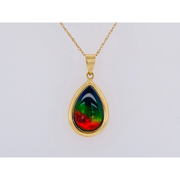 Yellow Gold Pear Fashion Necklace On A Sparkle Chain With One Pear Ammolite