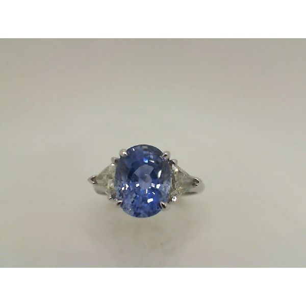 14kw Sapphire & Trillion Diamond 3 Stone Ring John Michael Matthews Fine Jewelry Vero Beach, FL