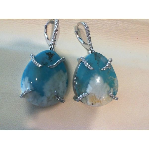 18kw Turquoise, Agate & Diamond Earrings John Michael Matthews Fine Jewelry Vero Beach, FL