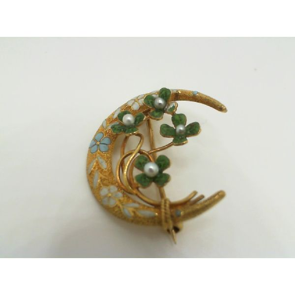 Antique Victorian Enameled Floral Crescent Moon Pin John Michael Matthews Fine Jewelry Vero Beach, FL