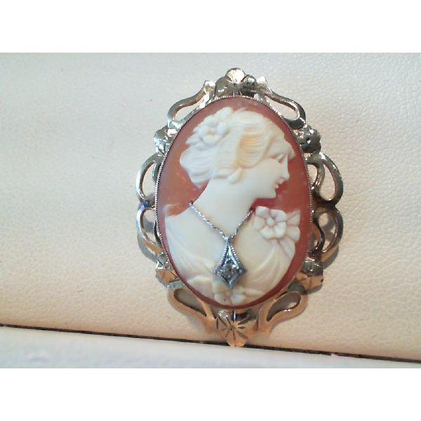 Vintage 10ky Cameo Pin With Diamond Necklace John Michael Matthews Fine Jewelry Vero Beach, FL