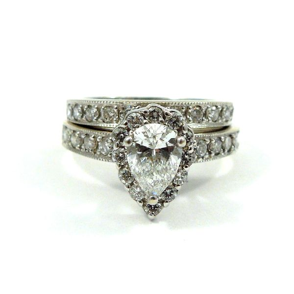 Pear Cut Diamond Halo Engagement Ring Joint Venture Jewelry Cary, NC
