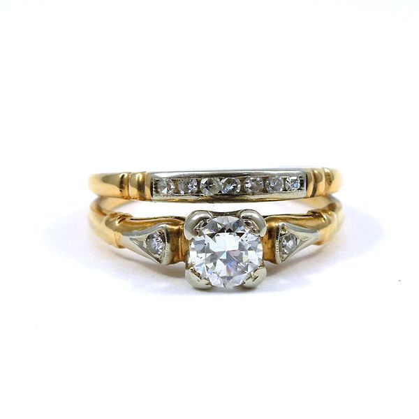 Two Tone Diamond Engagement Set Joint Venture Jewelry Cary, NC