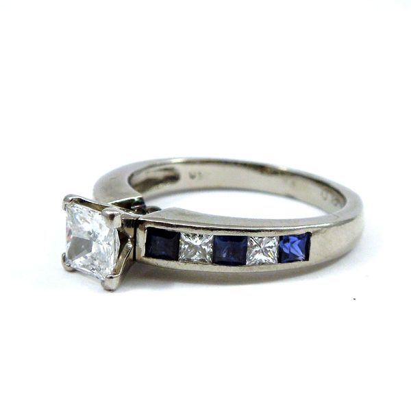 Princess Cut Diamond & Sapphire Engagement Ring Image 2 Joint Venture Jewelry Cary, NC
