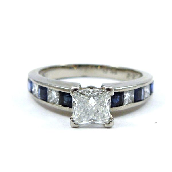 Princess Cut Diamond & Sapphire Engagement Ring Joint Venture Jewelry Cary, NC