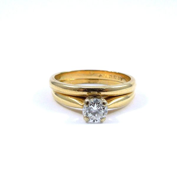 Yellow Gold Solitaire Engagement Set Joint Venture Jewelry Cary, NC