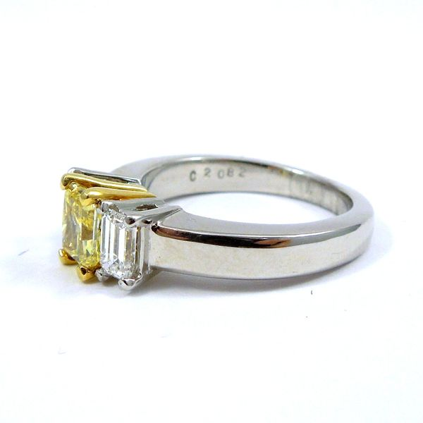 Fancy Radiant Cut Yellow Diamond Engagement Ring Image 2 Joint Venture Jewelry Cary, NC