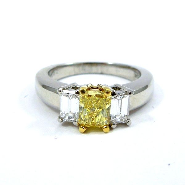 Fancy Radiant Cut Yellow Diamond Engagement Ring Joint Venture Jewelry Cary, NC