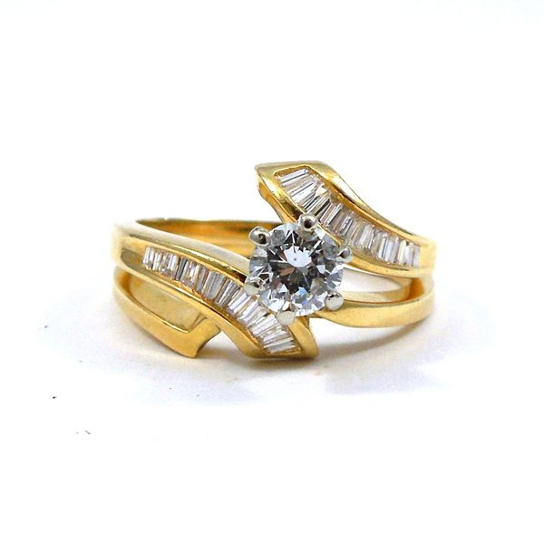 Bypass Style Diamond Engagement Ring Set Joint Venture Jewelry Cary, NC