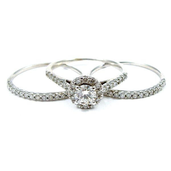 Diamond Halo Engagement Ring Set Joint Venture Jewelry Cary, NC