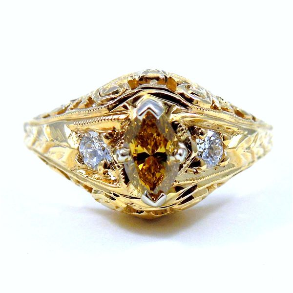 Fancy Yellow Marquise Cut Diamond Engagement Ring Joint Venture Jewelry Cary, NC