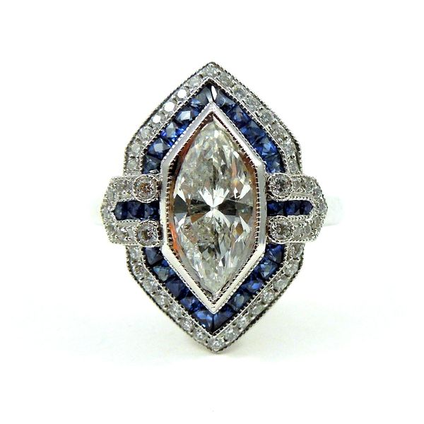 Marquise Diamond and Sapphire Engagement Ring Joint Venture Jewelry Cary, NC