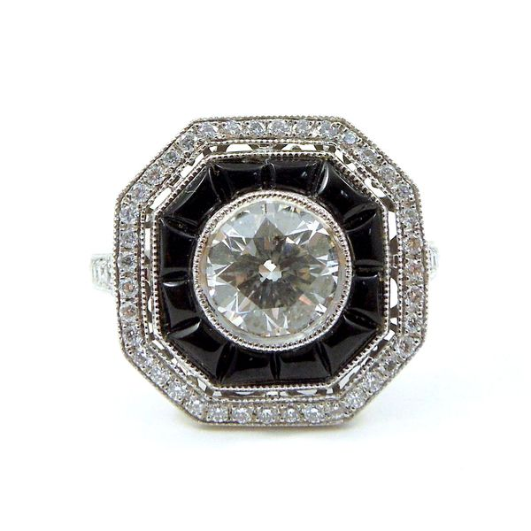 Diamond and Black Onyx Engagement Ring Joint Venture Jewelry Cary, NC