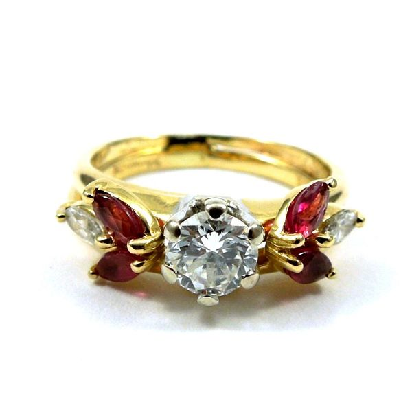 Diamond Engagement Ring with Ruby Wrap Joint Venture Jewelry Cary, NC