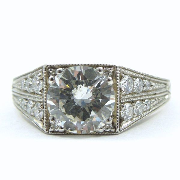 Vintage Inspired Diamond Engagement Ring Joint Venture Jewelry Cary, NC