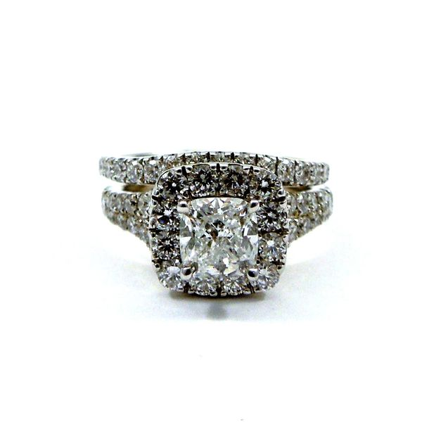 Cushion Cut Diamond Halo Engagement Ring with Matching Wedding Band Joint Venture Jewelry Cary, NC
