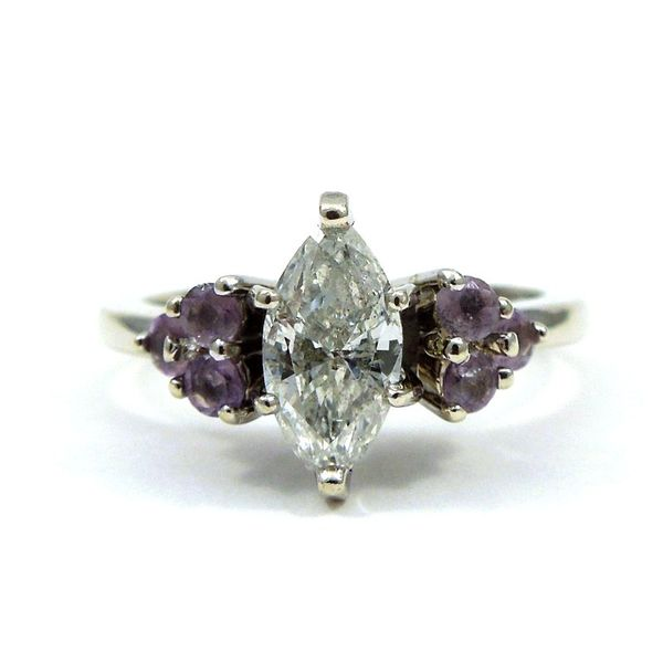 Marquise Cut Diamond Engagement Ring with Amethyst Joint Venture Jewelry Cary, NC