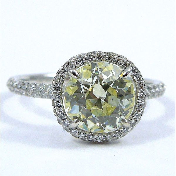 Fancy Yellow Diamond Halo Engagement Ring Joint Venture Jewelry Cary, NC