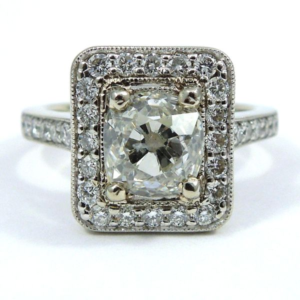 Mine Cut Diamond Engagement Ring in Modern Setting Joint Venture Jewelry Cary, NC