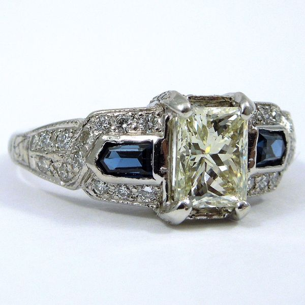 Vintage Diamond and Sapphire Engagement Ring Image 2 Joint Venture Jewelry Cary, NC