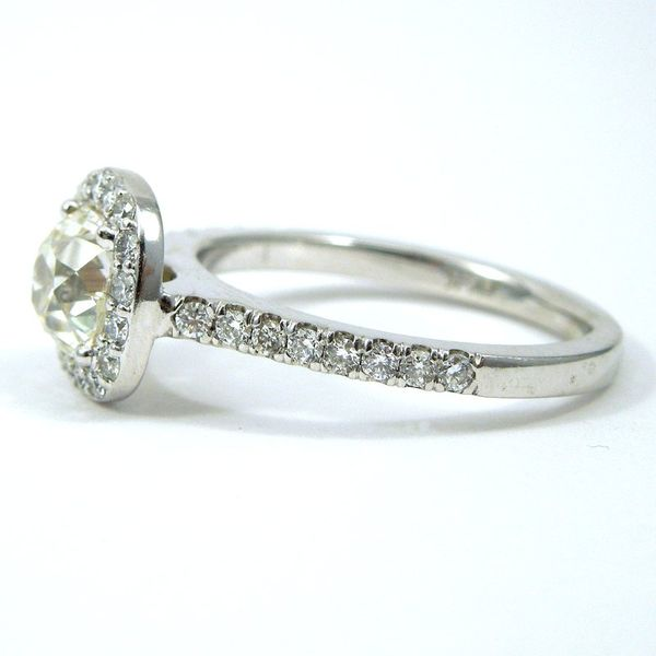 Mine Cut Diamond Halo Engagement Ring Image 2 Joint Venture Jewelry Cary, NC